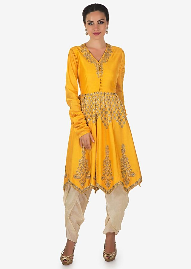 Yellow Suit Enhanced In Pleats And Sequin Embroidery With Dhoti Pants Online - Kalki Fashion