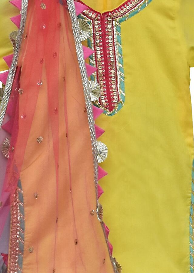 Yellow Suit In Cotton Silk And Blue Sharara Bottoms With Floral Print By Fayon Kids
