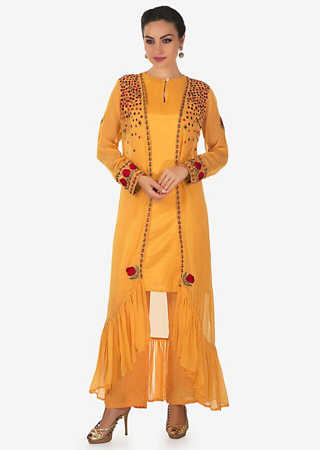 Yellow suit matched with resham embroidered jacket and pants only on Kalki