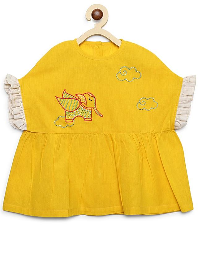 Yellow Top And White Straight Cut Pants With Thread Embroidered Lion Motif By Tiber Taber