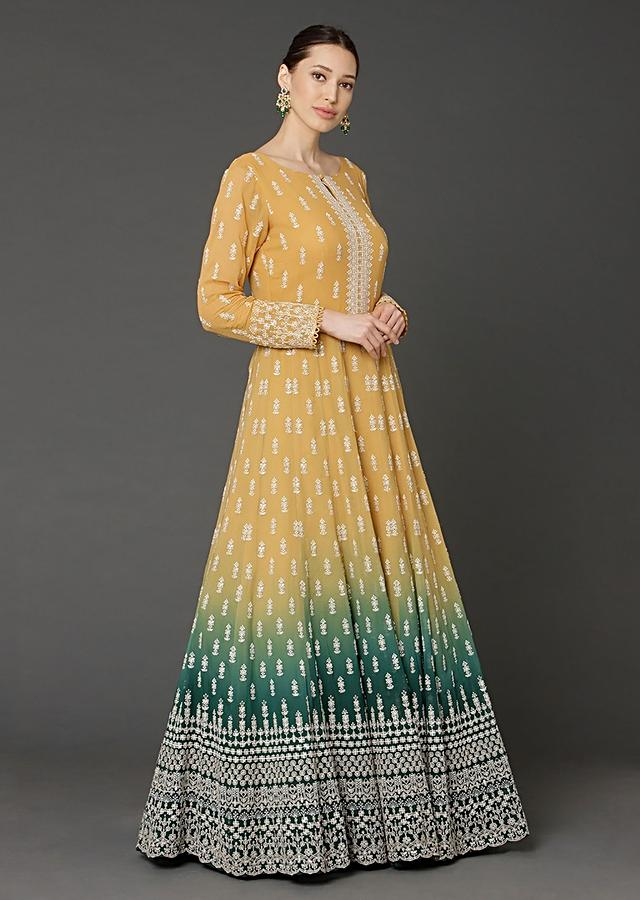 Yellow And Green Shaded Anarkali In Georgette With Lucknowi Thread Embroidered Buttis Online - Kalki Fashion