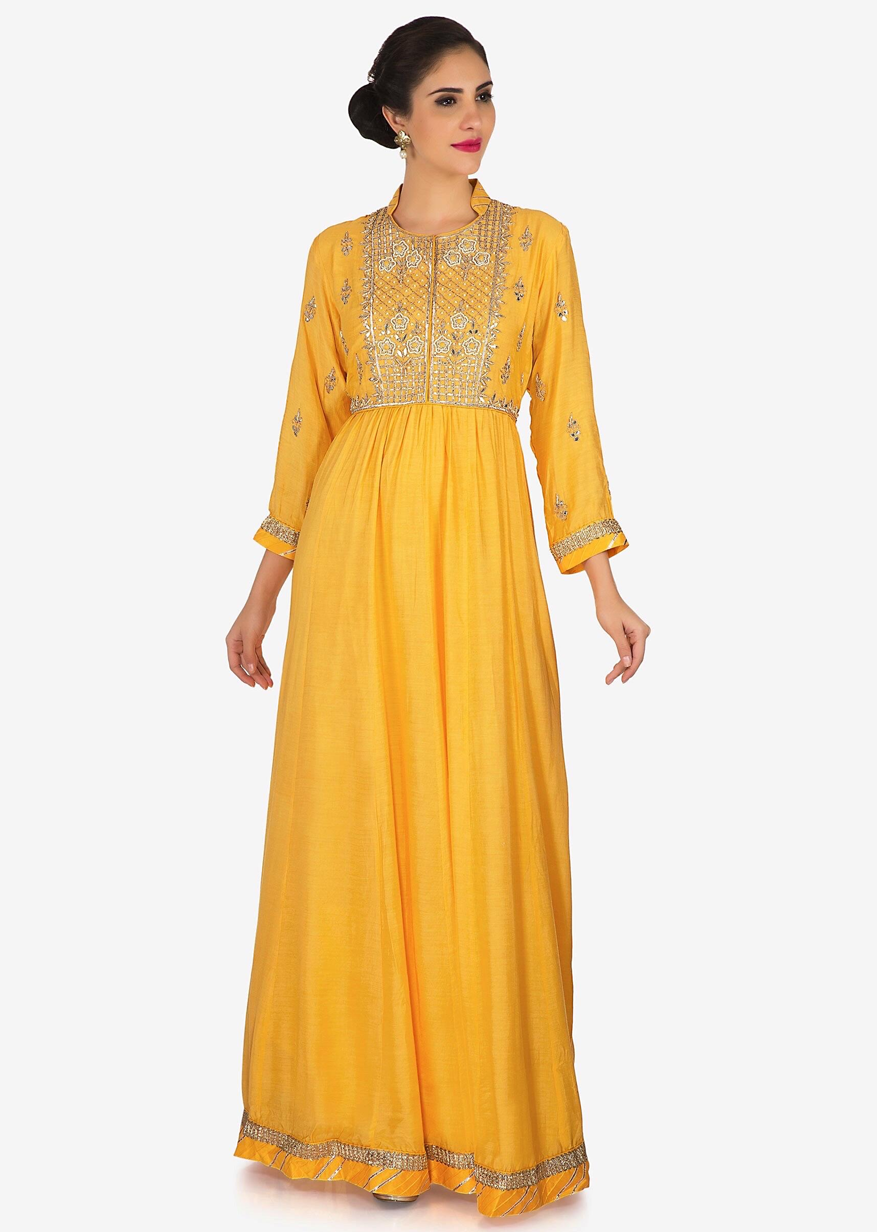 b04daaae07bf1 Yellow cotton anarkali suit embellished in gota-patti and zari embroidered  work only on Kalki