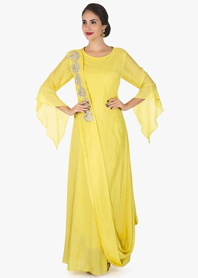 Yellow Tunic In Cotton With Ready Pleated Dupatta Enhanced In Gotapatti Embroidery Work Online - Kalki Fashion