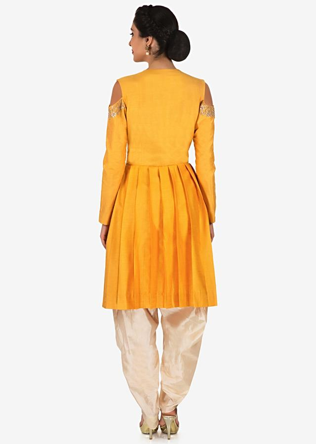 Yellow Dhoti Suit Crafted With Gotta Patti Butti Embroidery Work Online - Kalki Fashion