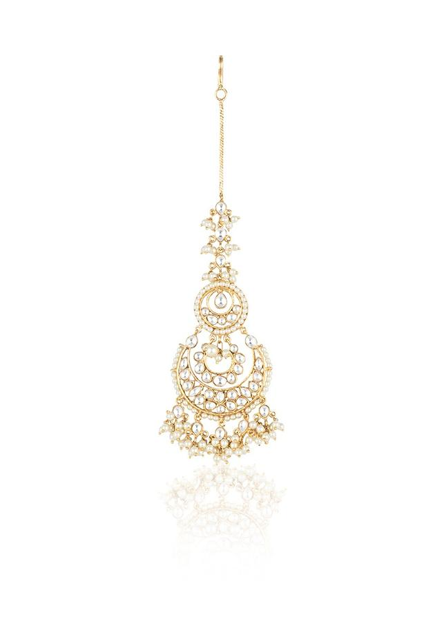 Yellow Rhodium Plated Mang Tika N Crescent Motif Studded With Kundan And Faux Pearls By Aster