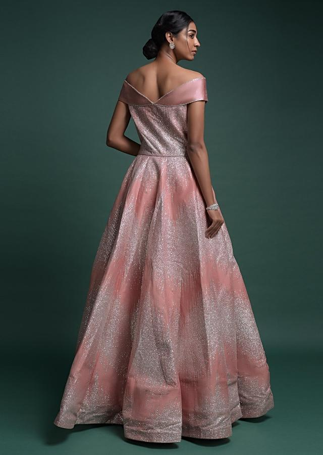 Youthful Peach Gown In Raw Silk With Fancy Off Shoulder Neckline And Shimmer All Over Online - Kalki Fashion