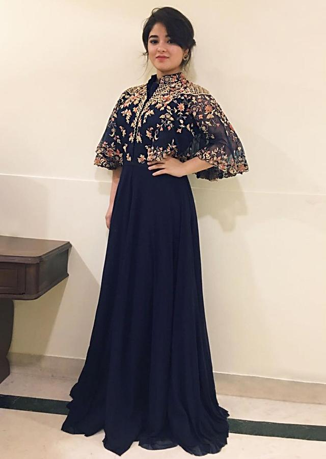 Zaira Wasim in Kalki dress in lycra with fancy cape sleeve