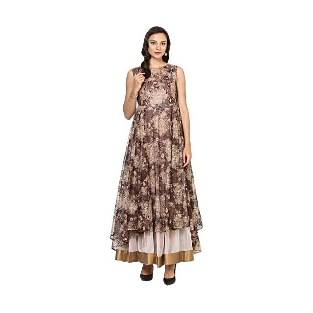 Brown Tiered Asymmetrical dress