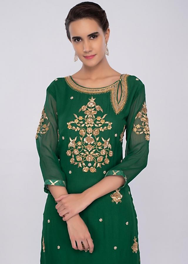 Dark green georgette sharara suit set with embroidery and butti only on kalki