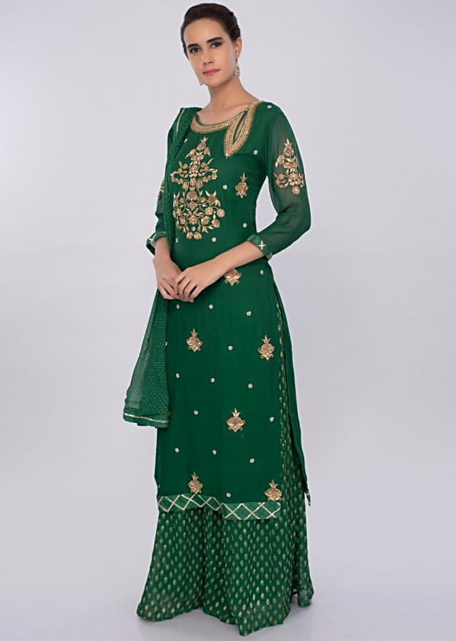 Dark green georgette palazzo suit set with embroidery and butti only on kalki