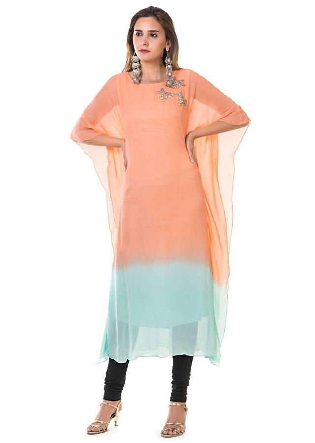 Peach And Blue Shaded Kaftan With Hand Embroidery Online - Kalki Fashion