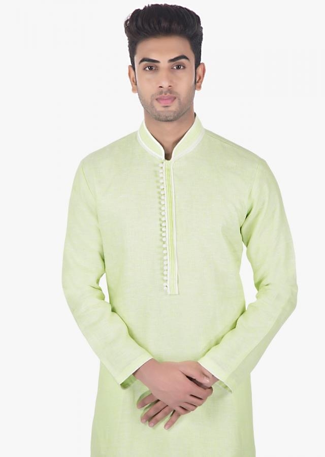 lime cream linen kurta and  white chudidar set only on Kalki
