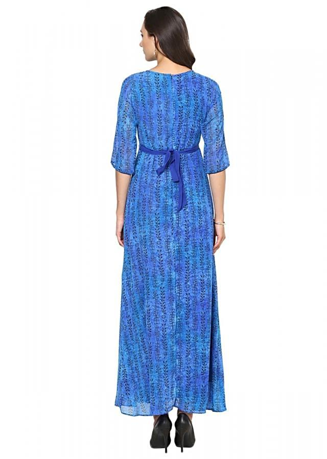 Royal Blue A-Line printed Maxi dress