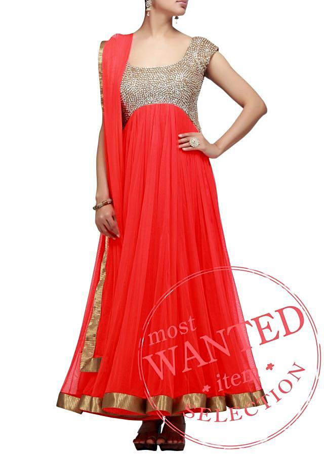 Coral Suit With Sequenced Yoke Online - Kalki Fashion