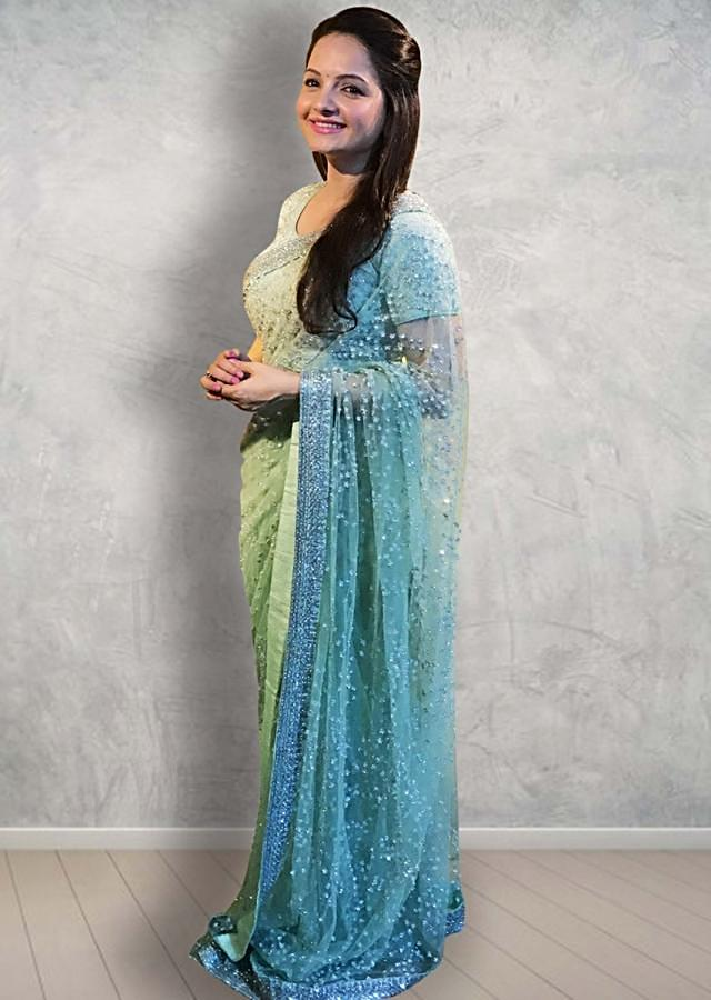 Gia Manek,in kalki pista green net saree with moti and sequins embroidery