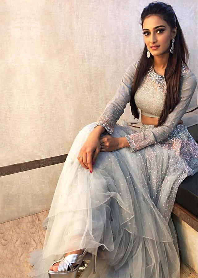 Erica Fernandes in Kalki grey sequins embroiderd lehenga set with ruffled organza dupatta