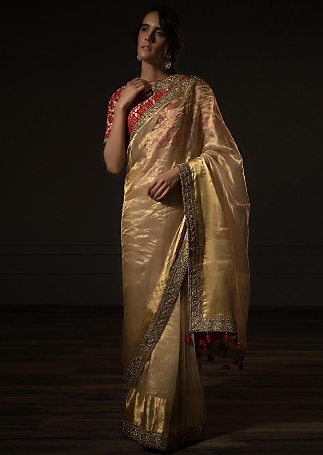 Golden Sheer Saree In Silk With Embroidered Border Online - Kalki Fashion