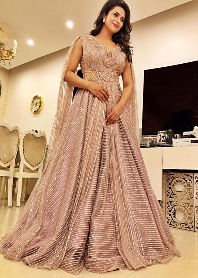 Divyanka Tripathi in kalki natural beige satin jaal embroidered net gown with drape at the back