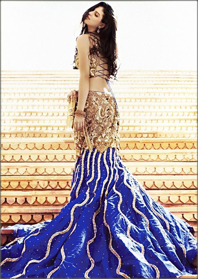 Royal blue mermaid lehenga with antique embroidery by Kalki