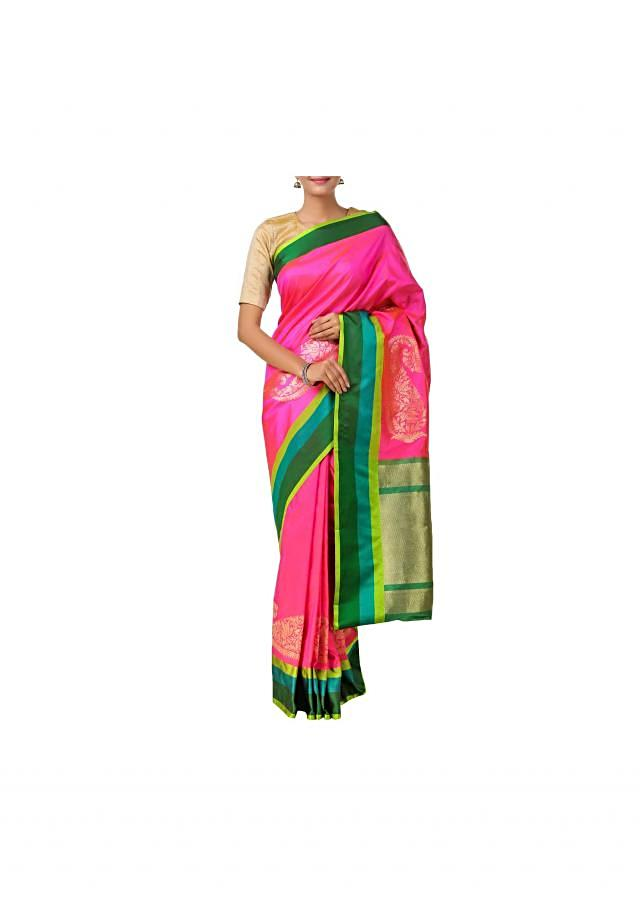 Handloom saree in pink with paisley motif & contrasting multicolored borders