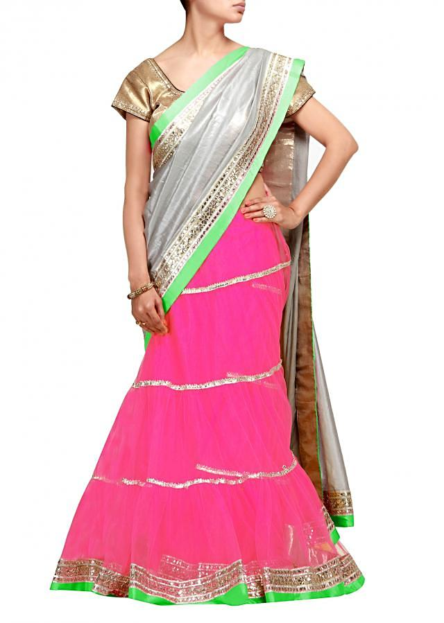 Lehenga saree in pink and silver with gotta patti work
