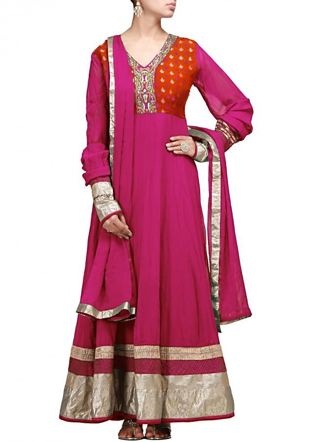 Pink anarkali suit with zari embroidery