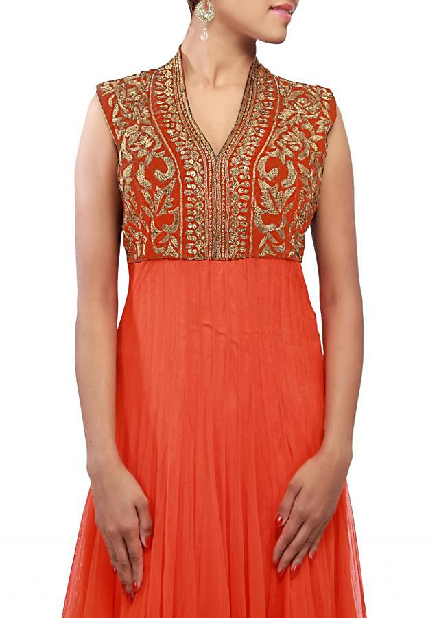 Orange colored net and velvet anarkali  suit with jardosi work by B91 Exclusive