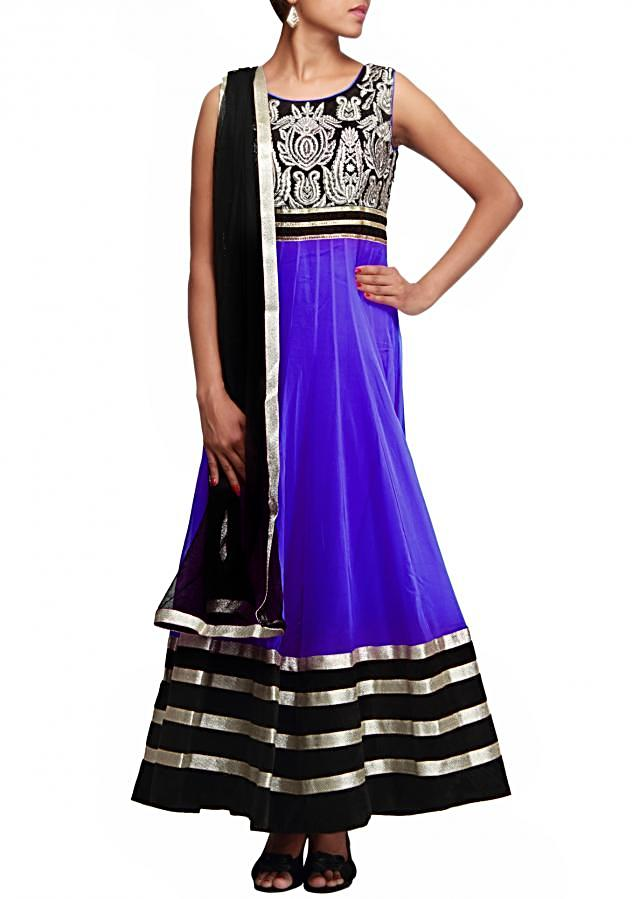 Blue anarkali suit featuring with embroidered bodice only on Kalki