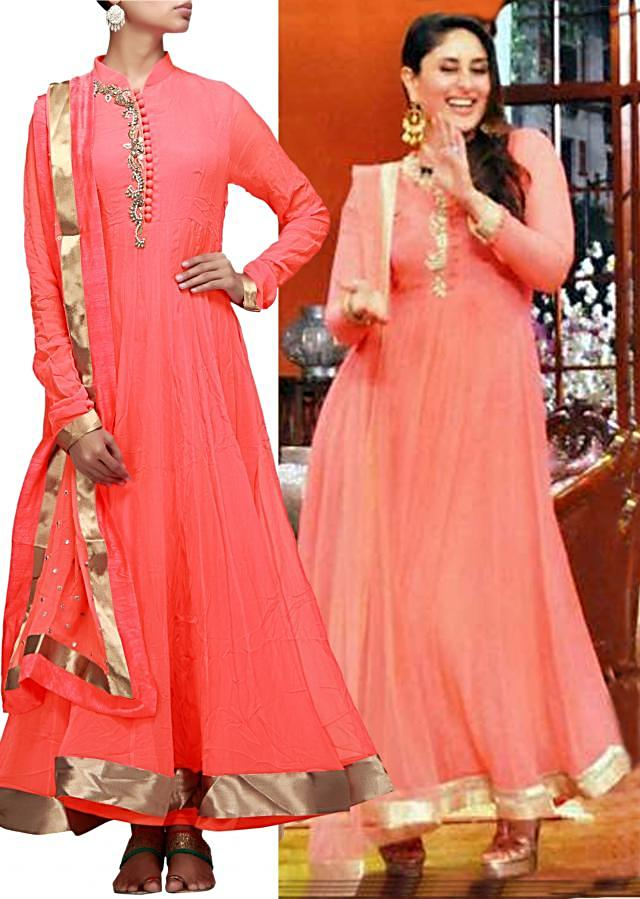 Peach anarkali suit featuring with embellished placket in pearl and zardosi only on Kalki