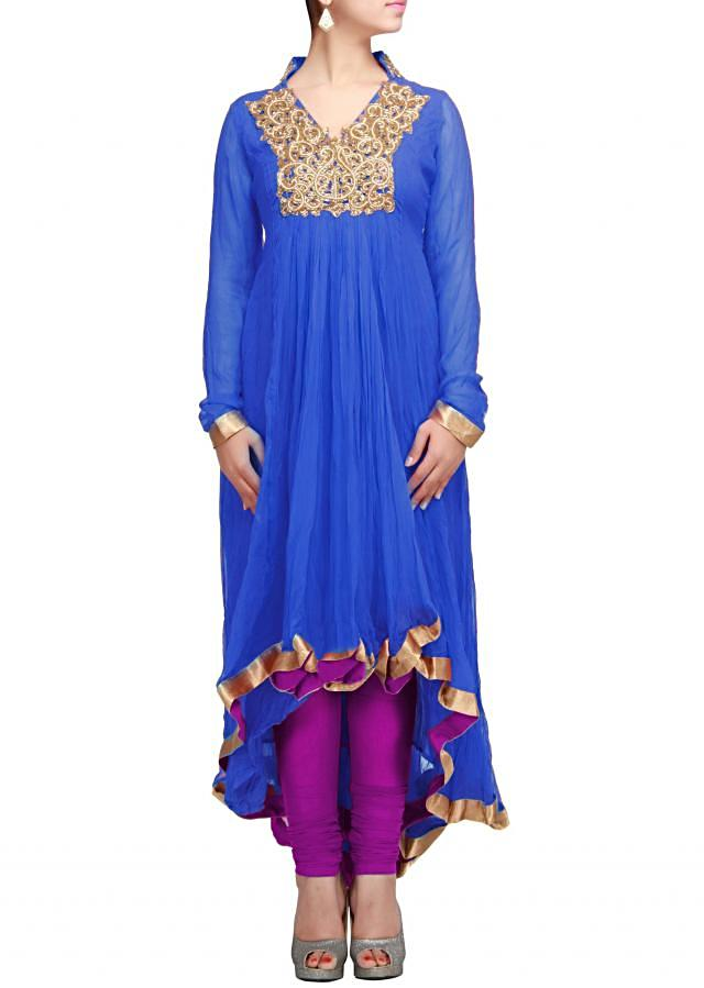 Blue anarkali suit with yoke highlighted in zari and gathers only on Kalki