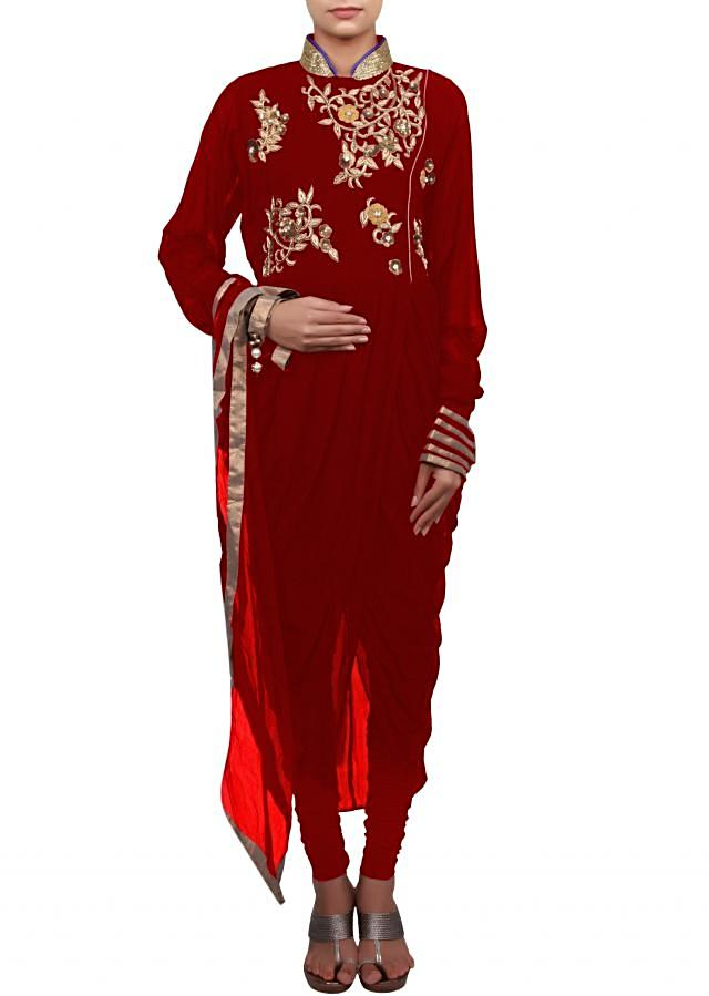 Red suit featuring with zardosi and cowl drape only on Kalki