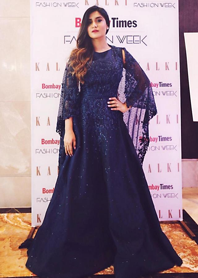 Midnight blue gown with embroidered attach cape only on Kalki