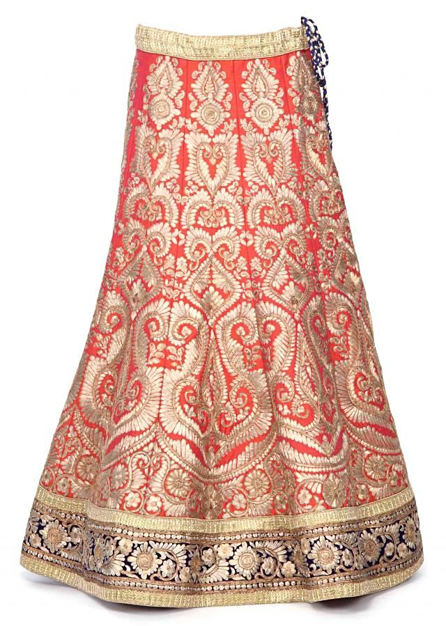 Coral leehnga adorn in zari embroideyr only on Kalki