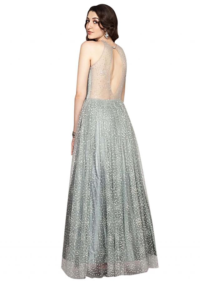 Silver Gown In Shimmer Net Fabric Online - Kalki Fashion