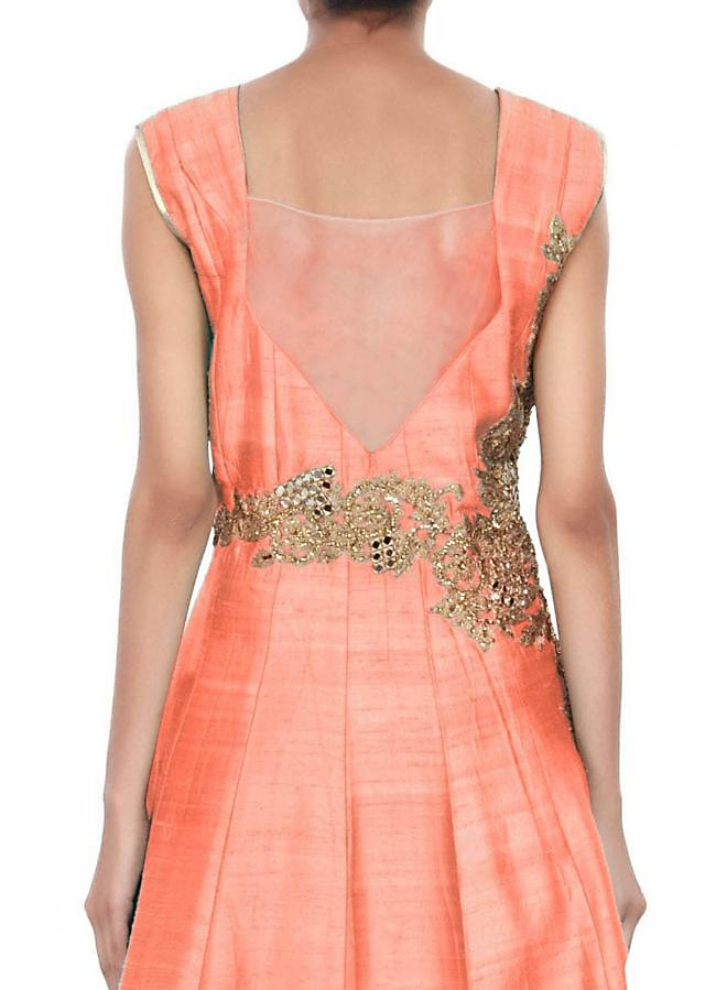 Peach anarkali suit adorn in mirror and zari embroidery only on Kalki