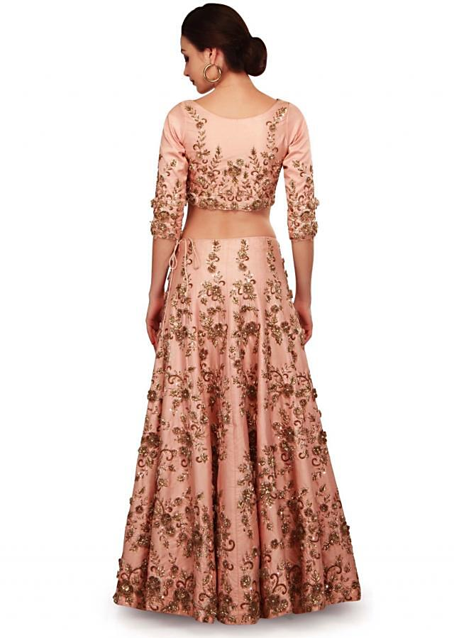 Baby pink lehenga with cutout fancy blouse only on Kalki