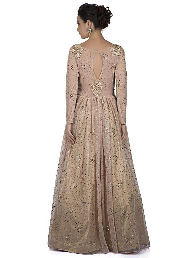 Gold gown adorn in resham and sequin only on Kalki
