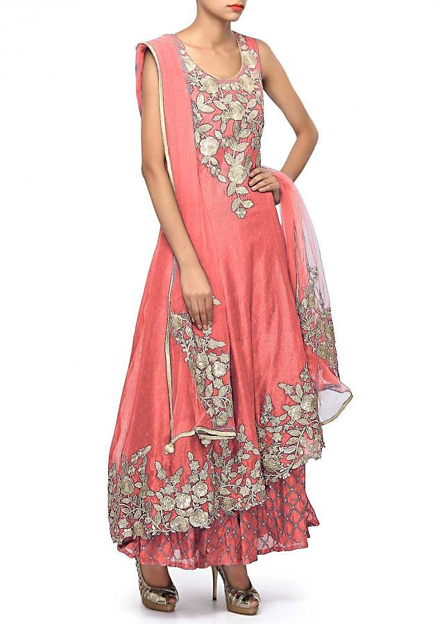 Peach suit adorn in zari and sequin embroidery only on Kalki