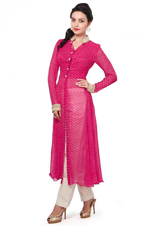 Pink leheriya suit embellished in pearl and stone embroidery only on Kalki