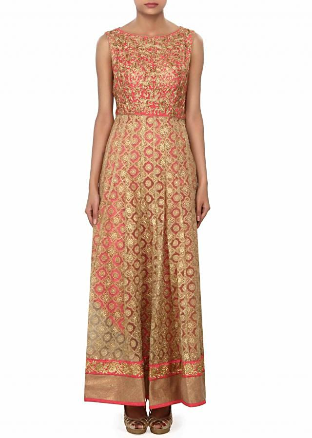 Pink suit embellished in zari and kundan embroidery only on Kalki