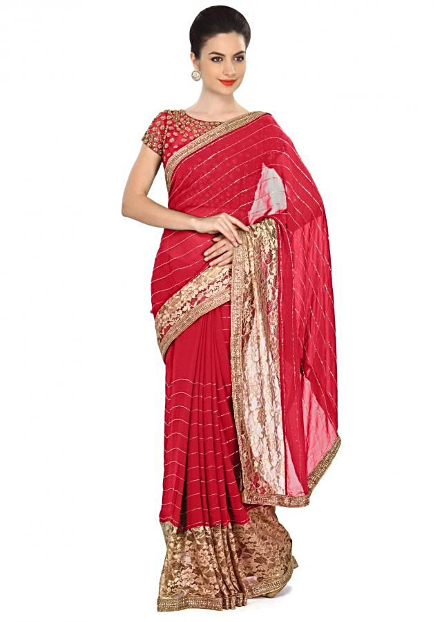 Red saree featuring in gold lace border only on Kalki