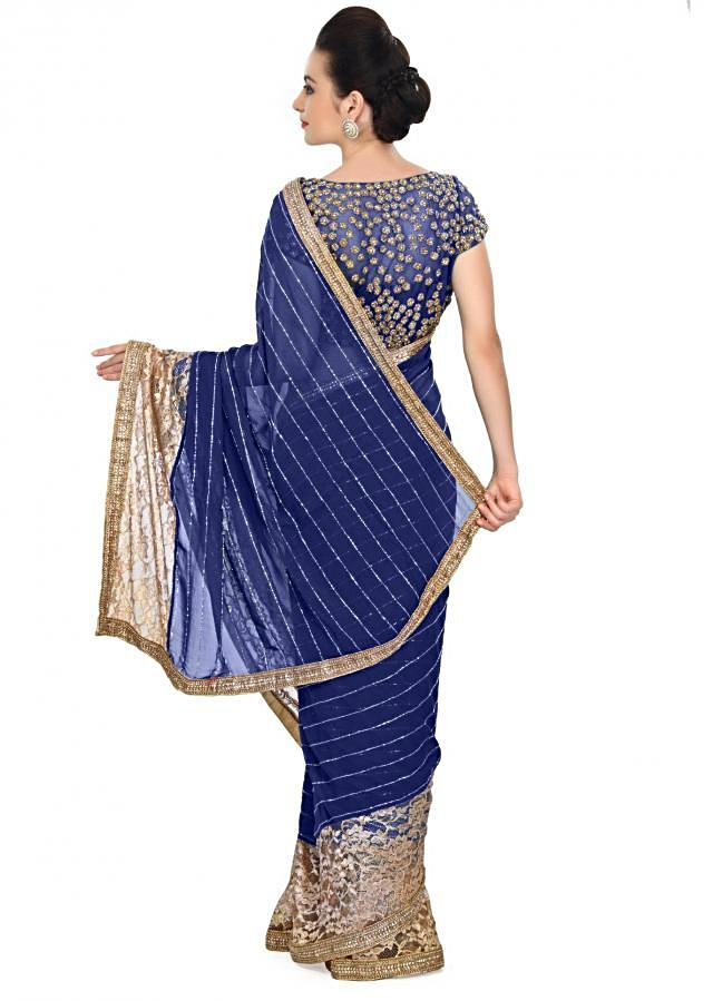 Ocean blue saree featuring in gold lace border only on Kalki