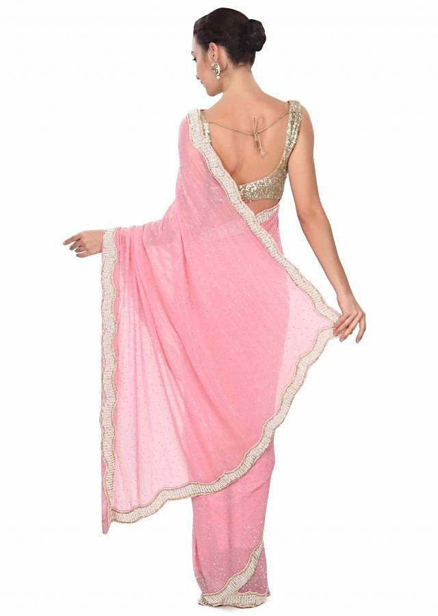 Pink saree with stone and pearl border only on Kalki
