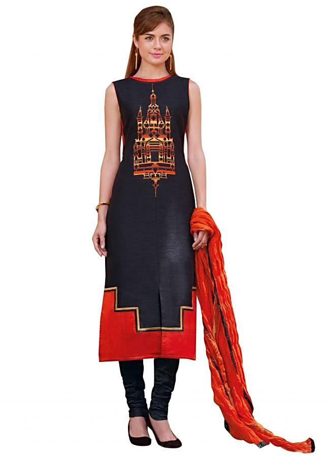 Black straight suit adorn in applique work and crushed dupatta