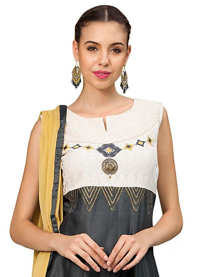 Grey and cream anarkali suit adorn in applique embroidery