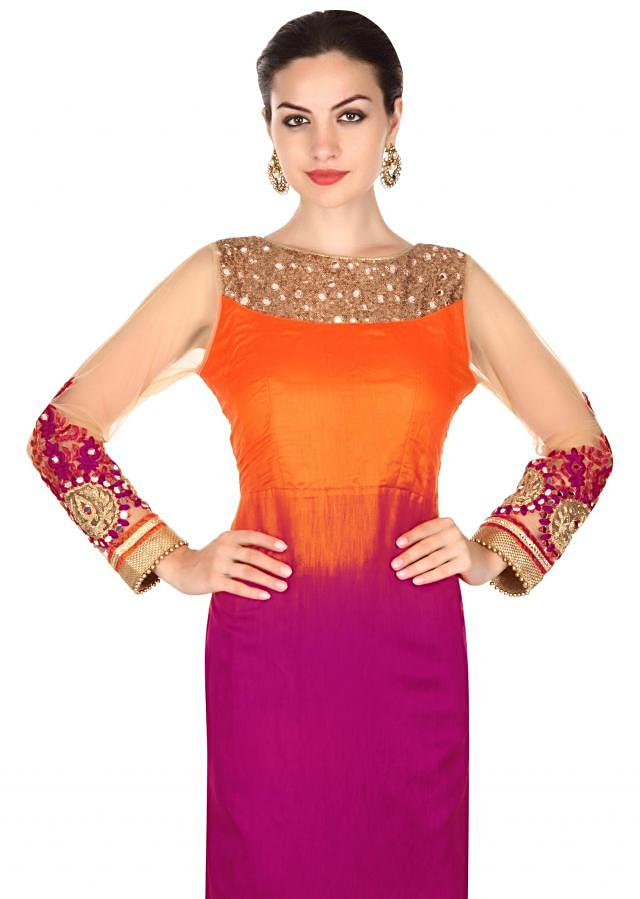 Orange and purple shaded suit adorn in mirror and sequin only on Kalki