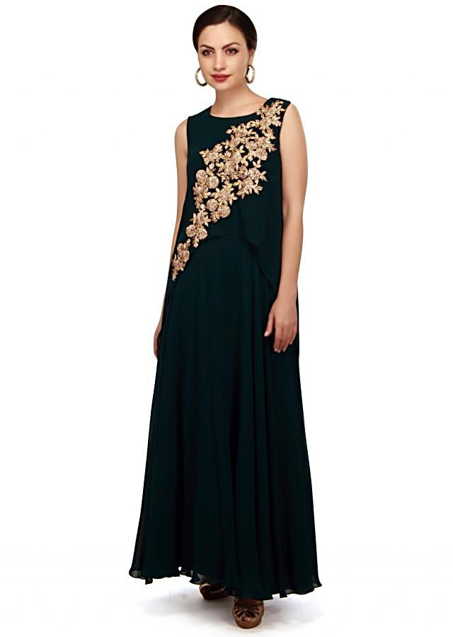 Teal green dress adorn in gotta lace embroidery only on Kalki
