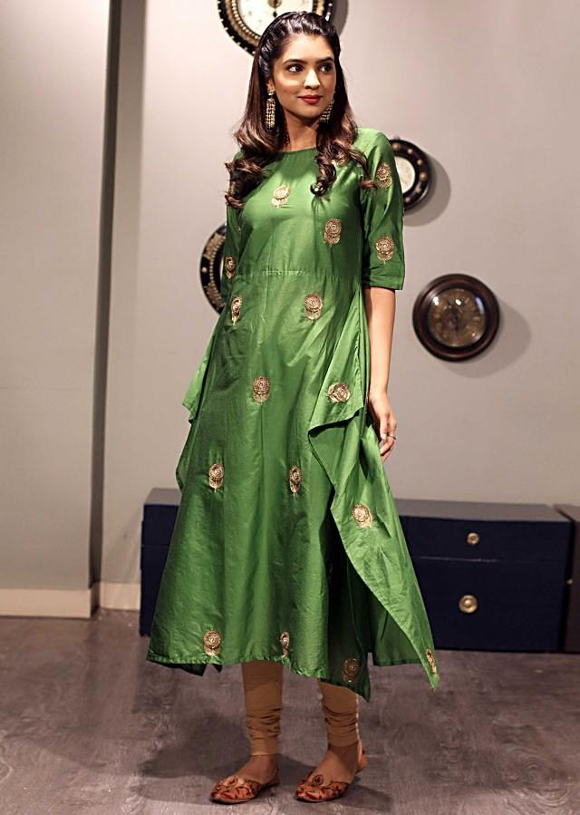 Green kurti in zari butti all over only on Kalki