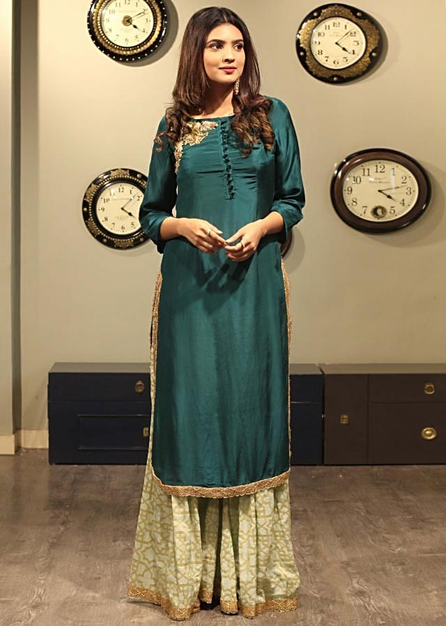 Green Suit With Straight Kurti Matched With Palazzo Pant Online - Kalki Fashion