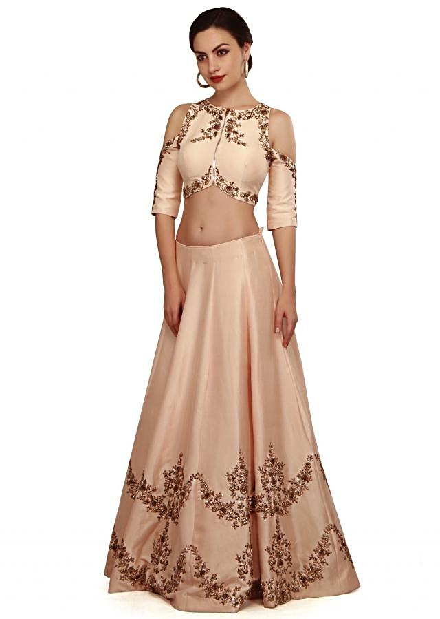 Baby pink lehenga in pearl and zardosi 3D embroidery only on Kalki